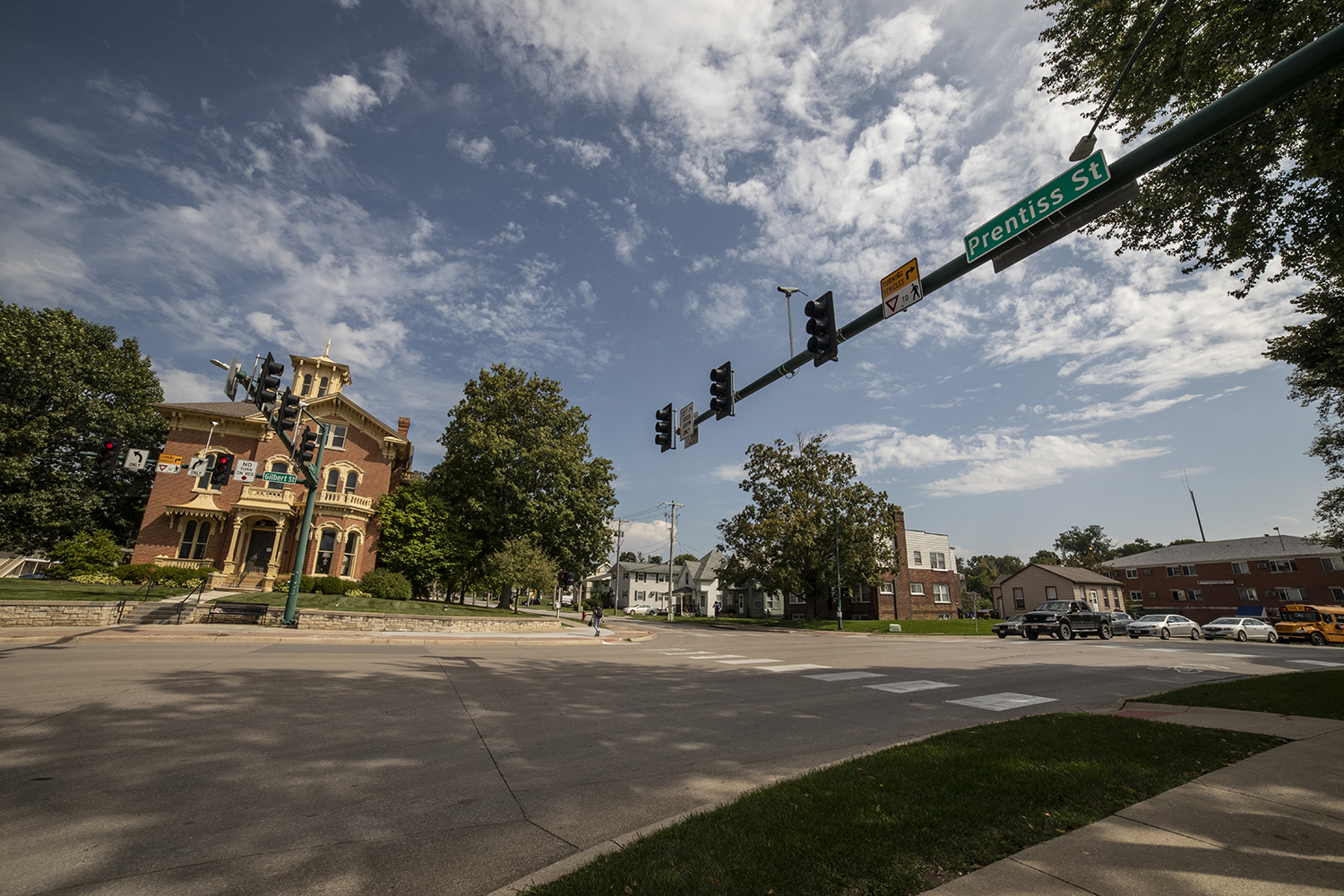 The corner of South Gilbert and Prentiss Street is seen on September 11, 2019. The southwest corner is where the proposed building will be located. (Ryan Adams/The Daily Iowan).