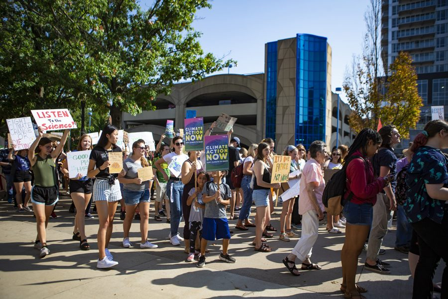 Citizens of all ages participate in the Climate Strike walk. The Iowa City Climate Strike march was one of hundreds taking place around the world on Friday, Sept. 20, 2019. (Reba Zatz/The Daily Iowan)