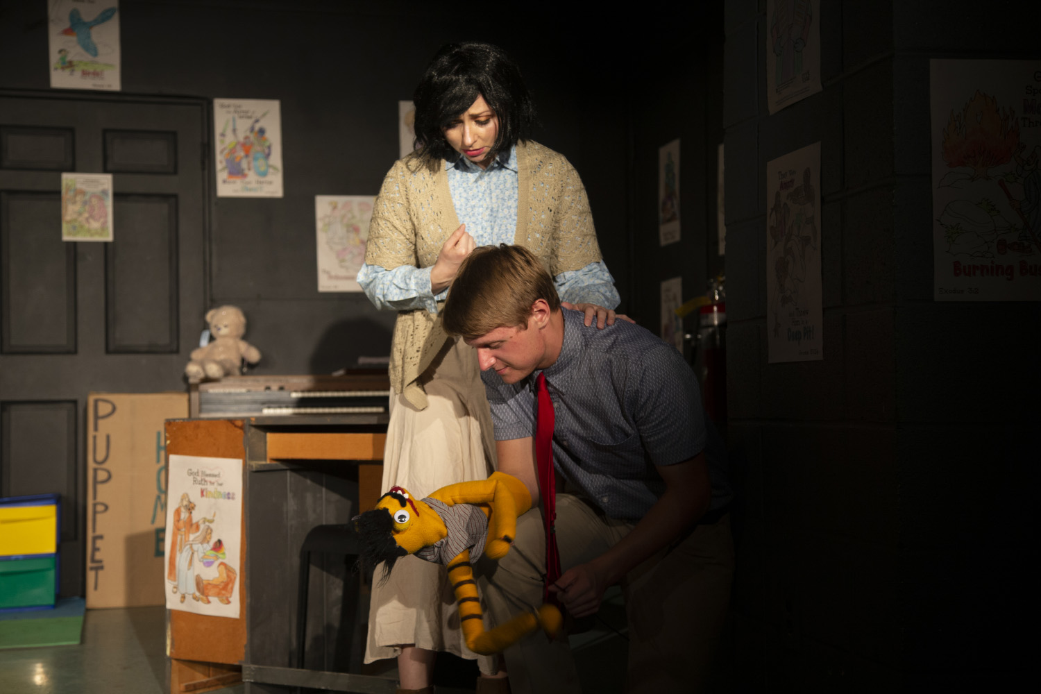 Zach Vig (Jason/Tyrone) and Eva Giacomo (Margery) run a scene before the opening night performance of Hand to God on Friday, Sept. 20, 2019 at Public Space One.