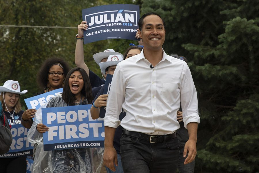 Former+U.S.+Secretary+of+Housing+and+Urban+Development+Julian+Castro+walks+on-stage+with+a+parade+of+supporters+Julian+Castro+during+the+Polk+County+Steak+Fry+in+Des+Moines+on+Saturday+Sept.+21%2C+2019.+17+democratic+candidates+gave+speeches+and+grilled+steaks.