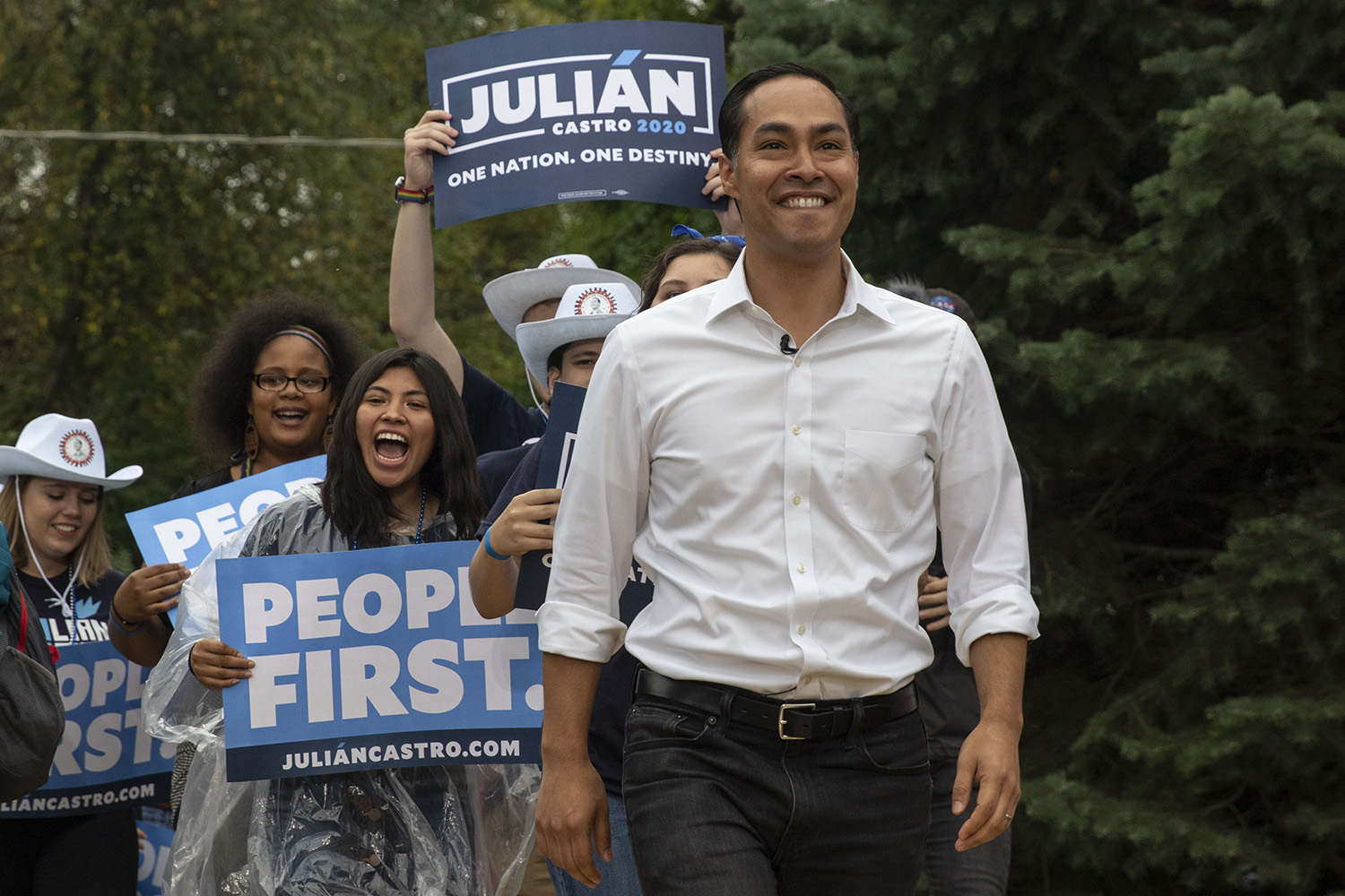 Former U.S. Secretary of Housing and Urban Development Julian Castro walks on-stage with a parade of supporters Julian Castro during the Polk County Steak Fry in Des Moines on Saturday Sept. 21, 2019. 17 democratic candidates gave speeches and grilled steaks.