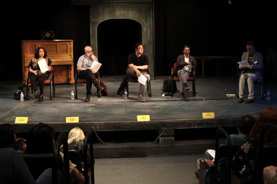 Writers discuss their creative processes when writing and directing during a panel discussion for the International Writing Program on Friday, September 20, 2019 at Riverside Theatre. Writers will be debuting their films with public screenings every Sunday night at FilmSeries. (Hannah Kinson/The Daily Iowan)