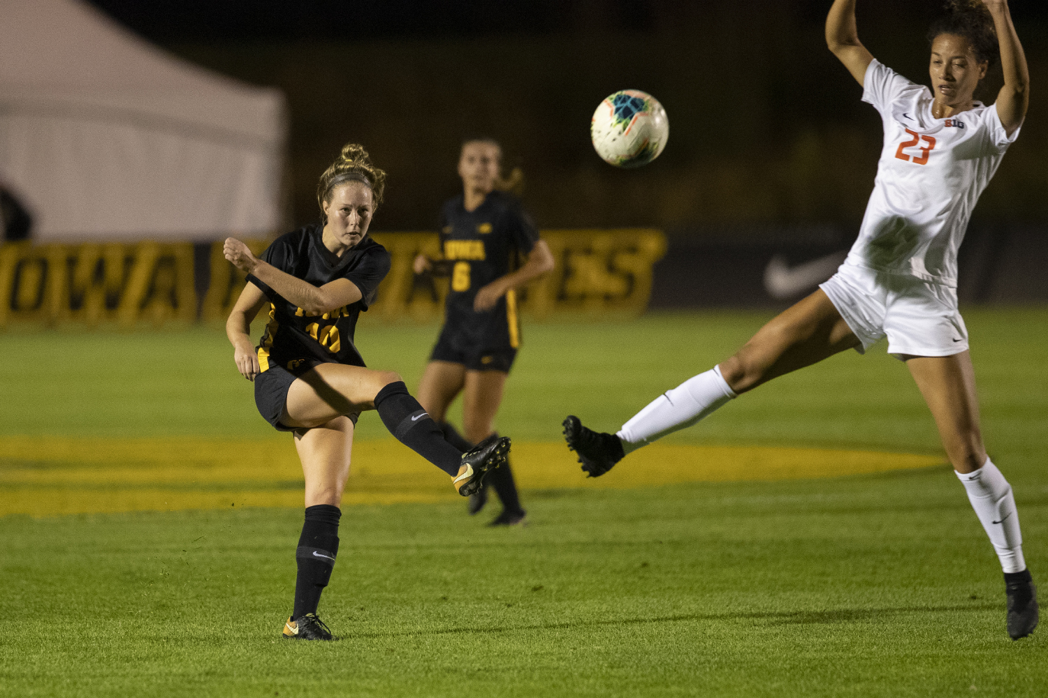 Iowa midfielder Natalie Winters kicks the ball during a soccer game between Iowa and Illinois on Sept. 26, 2019 at the Iowa Soccer Complex. The Hawkeyes defeated the Fighting Illini, 3-1.