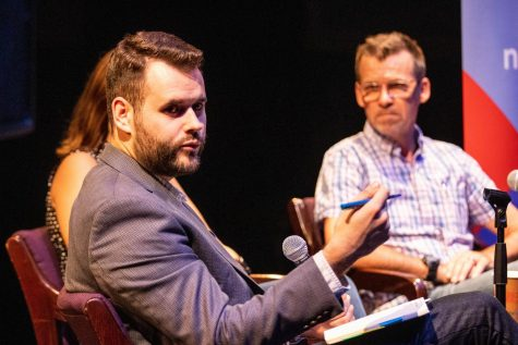 Senator Zach Wahls answers questions during a Youth in Politics Forum at The Englert Theatre on Thursday, September 26, 2019.