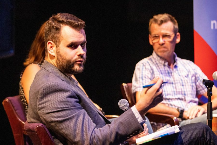 Senator+Zach+Wahls+answers+questions+during+a+Youth+in+Politics+Forum+at+The+Englert+Theatre+on+Thursday%2C+September+26%2C+2019.+