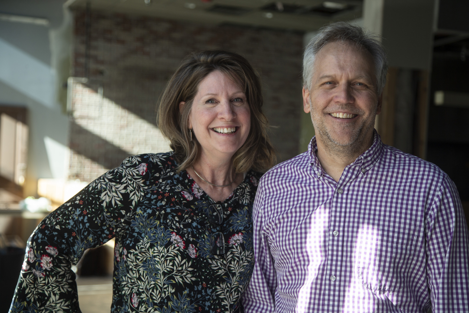 Owners Susan and Kevin Felker stand in the space that will become Prairie Kitchen on Wednesday, August 28, 2019. Prairie Kitchen is set to open in the spring of 2020. (Jenna Galligan/The Daily Iowan)
