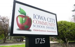 The Iowa City Community School District sign is seen on Apr. 29, 2019.