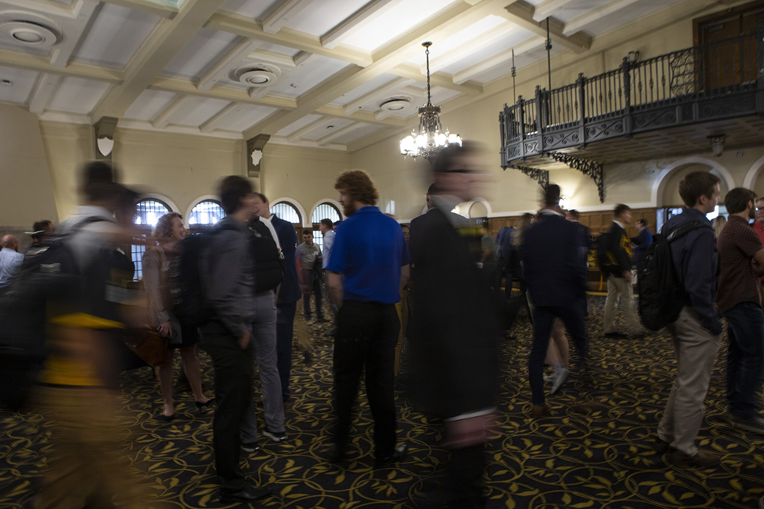 Attendees participate in speed networking during the Sports and Recreation Management Symposium in the IMU on Friday, September 6, 2019. (Katie Goodale/The Daily Iowan)