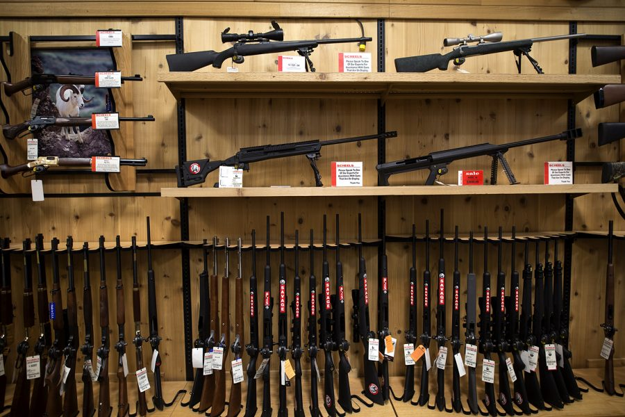 The prominent Hunting section of Scheels in Iowa City displays their firearms on Feb. 7, 2016. Hundreds of guns sit on the second floor of the All Sports store in the Coral Ridge Mall located in Corallville, Iowa. (The Daily Iowan/Mary Mathis)