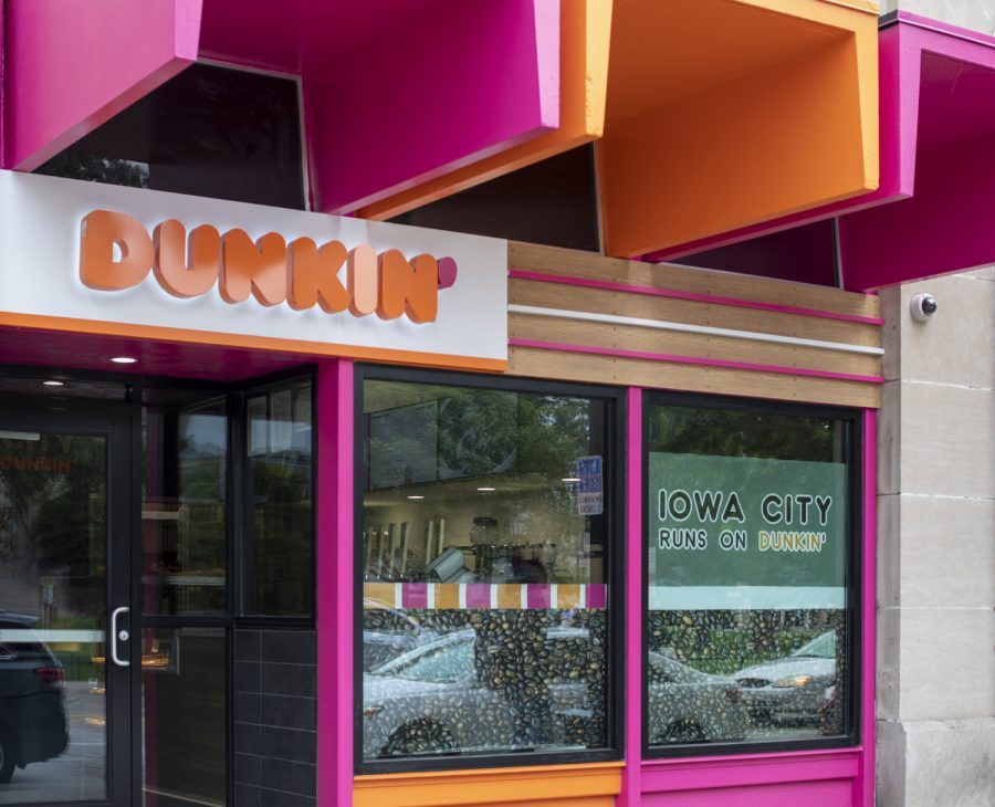 The new Dunkin' Donuts sign can be seen on Clinton St. on Sunday, August 25. (Megan Conroy/The Daily Iowan)