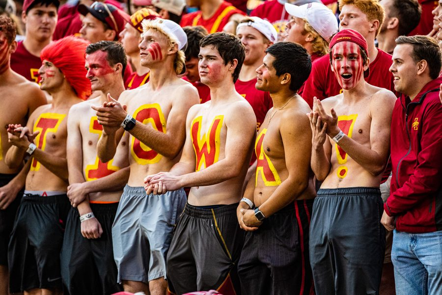 Iowa State fans watch the action during a football game between Iowa and Iowa State at Jack Trice Stadium in Ames on Saturday, September 14, 2019. The Hawkeyes retained the Cy-Hawk Trophy for the fifth consecutive year, downing the Cyclones, 18-17.