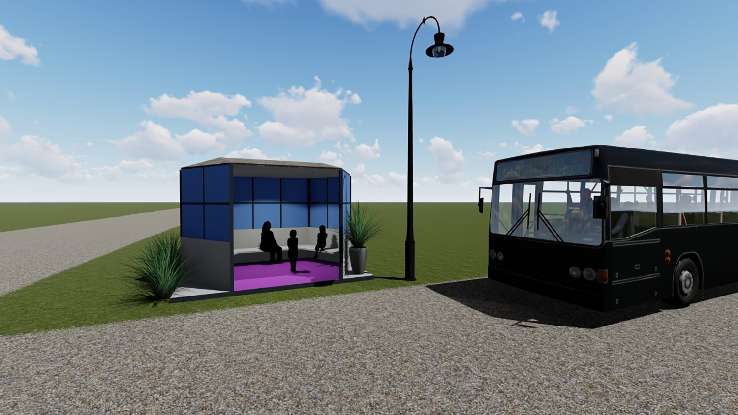 A rendering of the new bus stop in Plymouth, Iowa is shown.