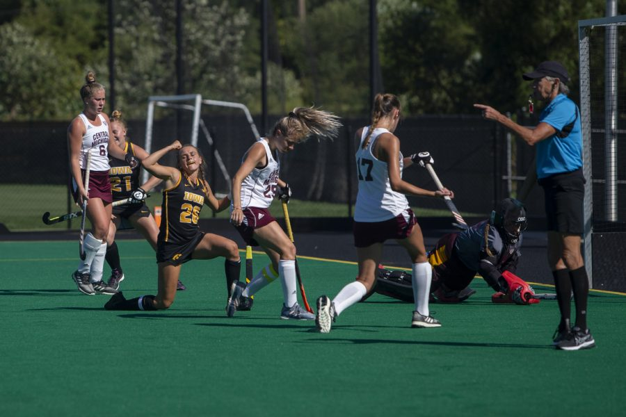 Iowa+forward+Maddy+Murphy+celebrates+a+goal+during+a+field+hockey+game+between+Iowa+and+Central+Michigan+at+Grant+Field+on+Friday%2C+September+6%2C+2019.+The+Hawkeyes+defeated+the+Chippewas%2C+11-0.