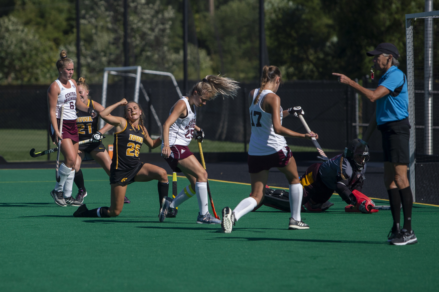 Iowa forward Maddy Murphy celebrates a goal during a field hockey game between Iowa and Central Michigan at Grant Field on Friday, September 6, 2019. The Hawkeyes defeated the Chippewas, 11-0.