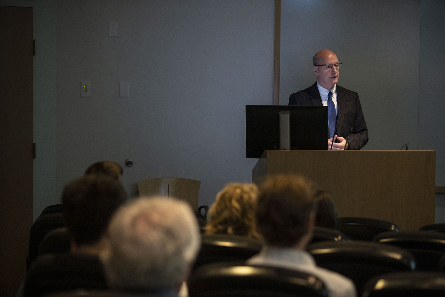 Chief Finanical officer for the office of Finance and Operations Terry Johnson addresses the audience during a P3 informational meeting in the Medical Education Research Facility on Tuesday Sept. 24, 2019.