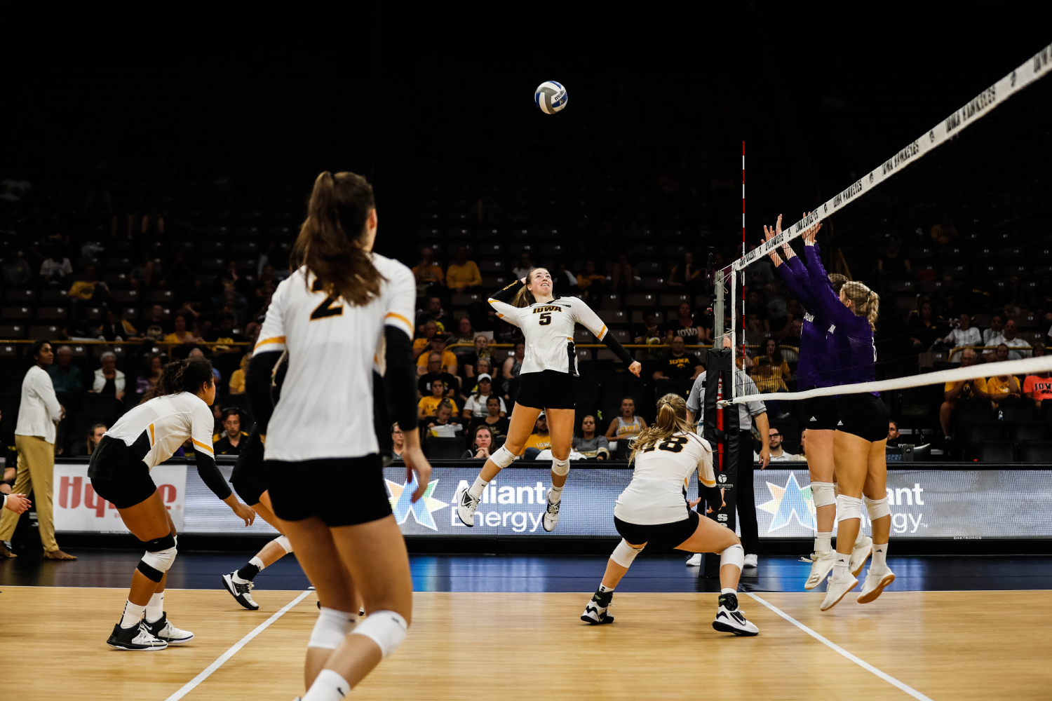 Iowa outside hitter Meghan Buzzerio goes for a kill during a volleyball match between Iowa and Washington at Carver Hawkeye Arena on Saturday, September 7, 2019. The Hawkeyes were defeated by the Huskies, 3-1.