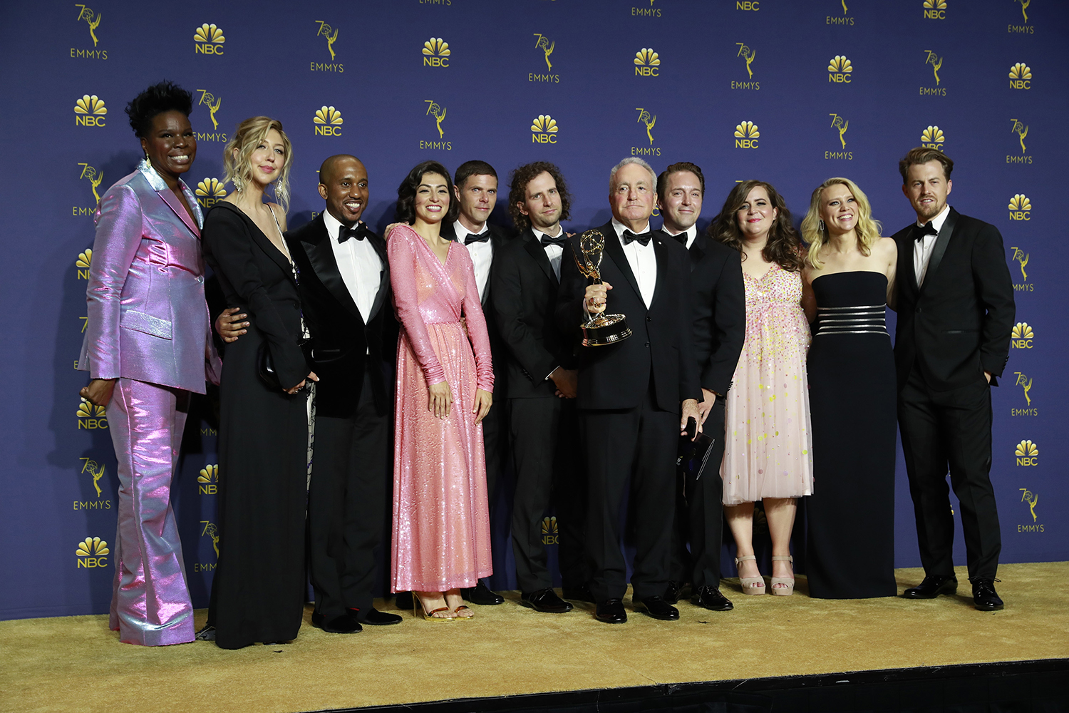 Lorne Michaels and SNL cast backstage during the 70th Primetime Emmy Awards at the Microsoft Theater in Los Angeles on Monday, Sept. 17, 2018. (Allen J. Schaben/Los Angeles Times/TNS)