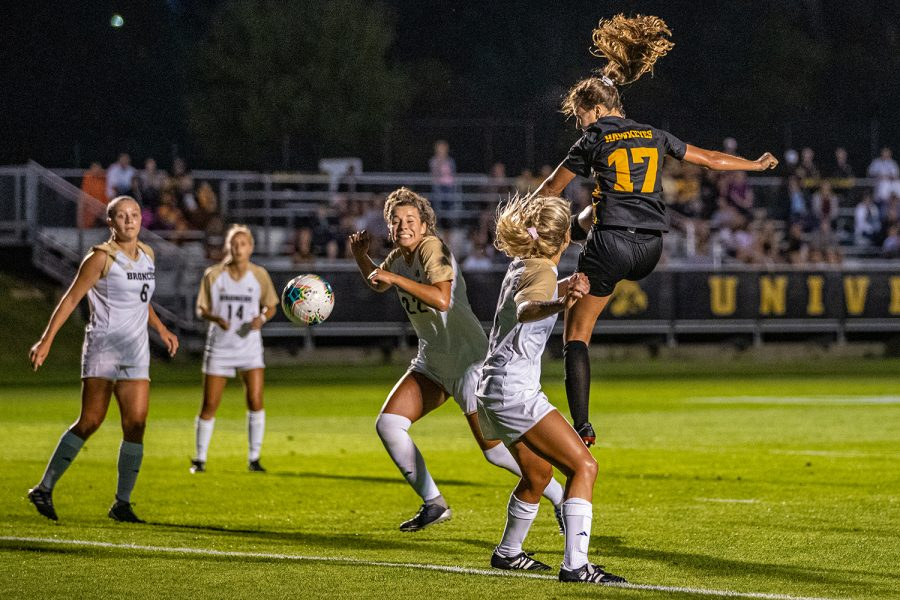 Iowa+defender+Hannah+Drkulec+%2817%29+takes+a+shot+during+a+women%27s+soccer+match+between+Iowa+and+Western+Michigan+on+Thursday%2C+August+22%2C+2019.+The+Hawkeyes+defeated+the+Broncos%2C+2-0.+