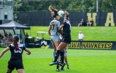 Iowa defender Hannah Drkulec heads the ball during Iowa's match against Illinois State on Sunday, September 1, 2019. The Hawkeyes defeated the Red Birds 4-3.