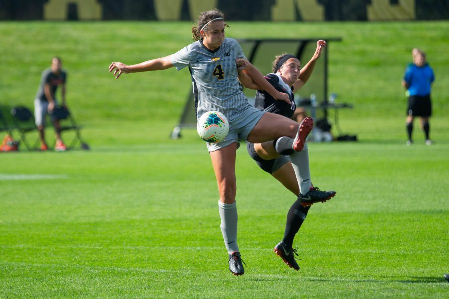Iowa forward Kaleigh Haus controls a pass during Iowa's match against Illinois State on Sunday, September 1, 2019. The Hawkeyes defeated the Red Birds 4-3.