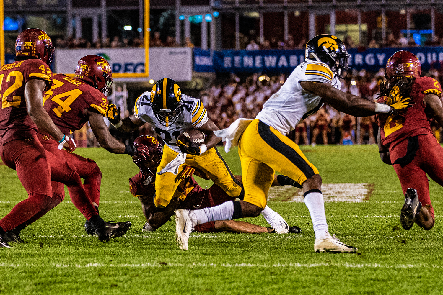 Iowa running back Ivory Kelly-Martin carries the ball during a football game between Iowa and Iowa State at Jack Trice Stadium in Ames on Saturday, September 14, 2019. The Hawkeyes retained the Cy-Hawk Trophy for the fifth consecutive year, downing the Cyclones, 18-17.