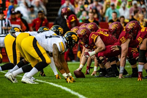 Iowa State's offense prepares for a play during a football game between Iowa and Iowa State at Jack Trice Stadium in Ames on Saturday, September 14, 2019. The Hawkeyes retained the Cy-Hawk Trophy for the fifth consecutive year, downing the Cyclones, 18-17. (Shivansh Ahuja/The Daily Iowan)