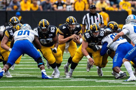 Iowa quarterback Nate Stanley carries the ball during a football game between Iowa and Middle Tennessee State at Kinnick Stadium on Saturday, September 28, 2019. The Hawkeyes defeated the Blue Raiders, 48-3.