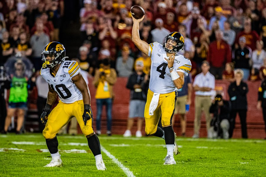 Iowa+quarterback+Nate+Stanley+makes+a+pass+during+a+football+game+between+Iowa+and+Iowa+State+at+Jack+Trice+Stadium+in+Ames+on+Saturday%2C+September+14%2C+2019.+The+Hawkeyes+retained+the+Cy-Hawk+Trophy+for+the+fifth+consecutive+year%2C+downing+the+Cyclones%2C+18-17.+