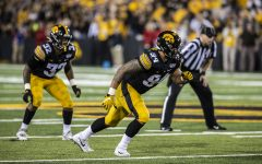 Iowa defensive end AJ Epenesa prepares for a play during the Iowa football game against Miami (Ohio) at Kinnick Stadium on Saturday, August 31, 2019. The Hawkeyes defeated the Redhawks 38-14.