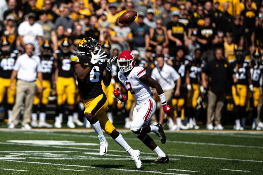 Iowa WR Ihmir Smith-Marsette catches a football that lead to a touchdown during a football game between Iowa and Rutgers at Kinnick Stadium on Saturday, September 7, 2019. The Hawkeyes defeated the Scarlet Knights 30-0.