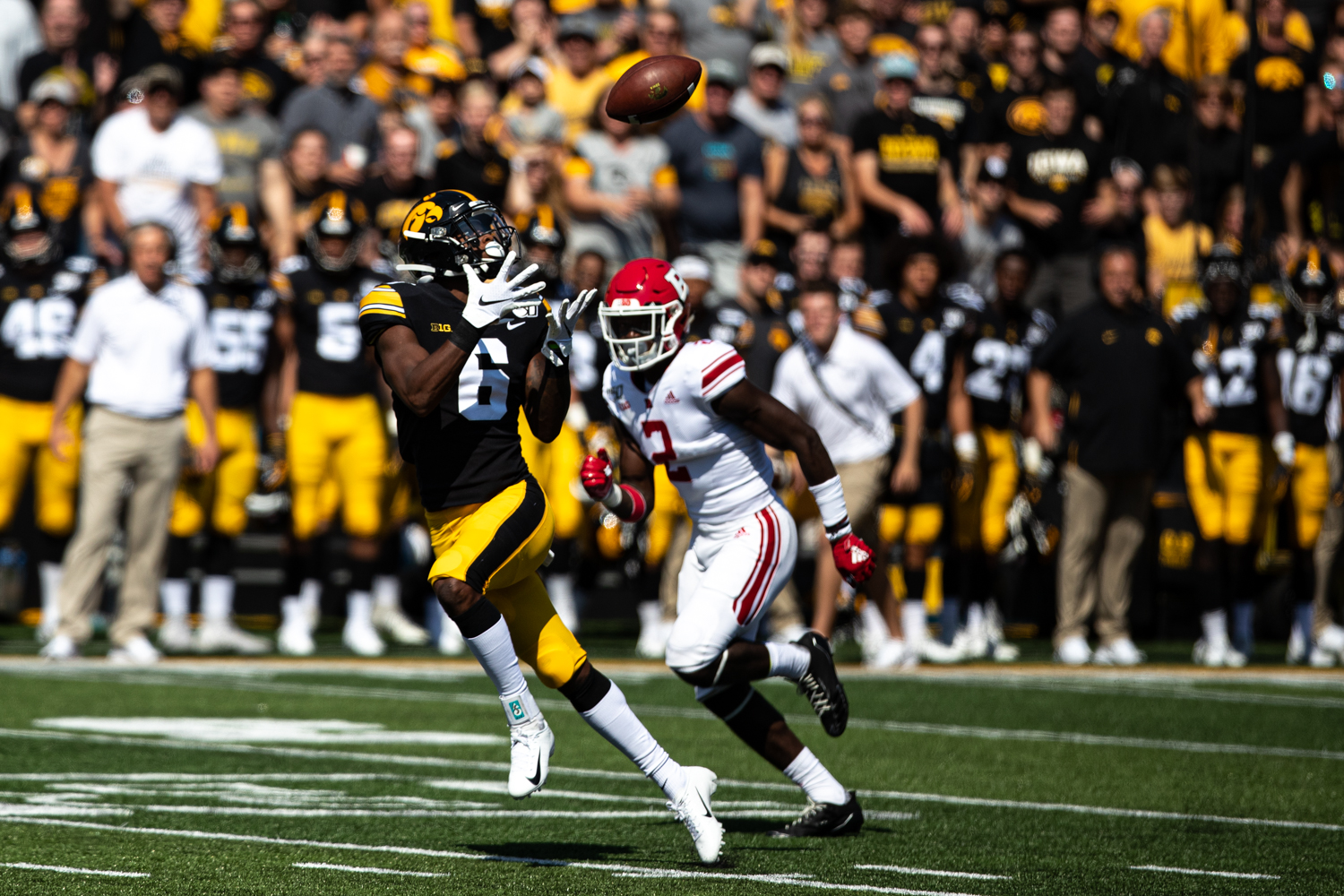 Iowa WR Ihmer Smith-Marsette catches a football that led to a touchdown during a football game between Iowa and Rutgers at Kinnick Stadium on Saturday, September 7, 2019. The Hawkeyes defeated the Scarlet Knights, 30-0. (Roman Slabach/ The Daily Iowan)