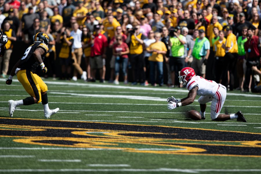 Rutgers RB Raheem Blackshear fails to catch the ball during a football game between Iowa and Rutgers at Kinnick Stadium on Saturday, September 7, 2019. The Hawkeyes defeated the Scarlet Knights 30-0.