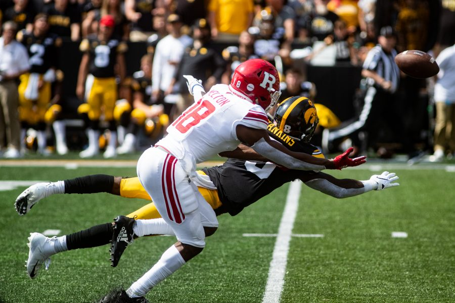 Iowa+WR+Matt+Hankins+dives+for+a+catrch+during+a+football+game+between+Iowa+and+Rutgers+at+Kinnick+Stadium+on+Saturday%2C+September+7%2C+2019.+The+Hawkeyes+defeated+the+Scarlet+Knights+30-0.+