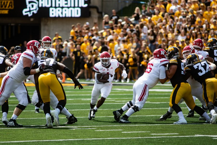 Rutgers RB Isaih Pacheco finds a hole during a football game between Iowa and Rutgers at Kinnick Stadium on Saturday, September 7, 2019. The Hawkeyes defeated the Scarlet Knights 30-0.