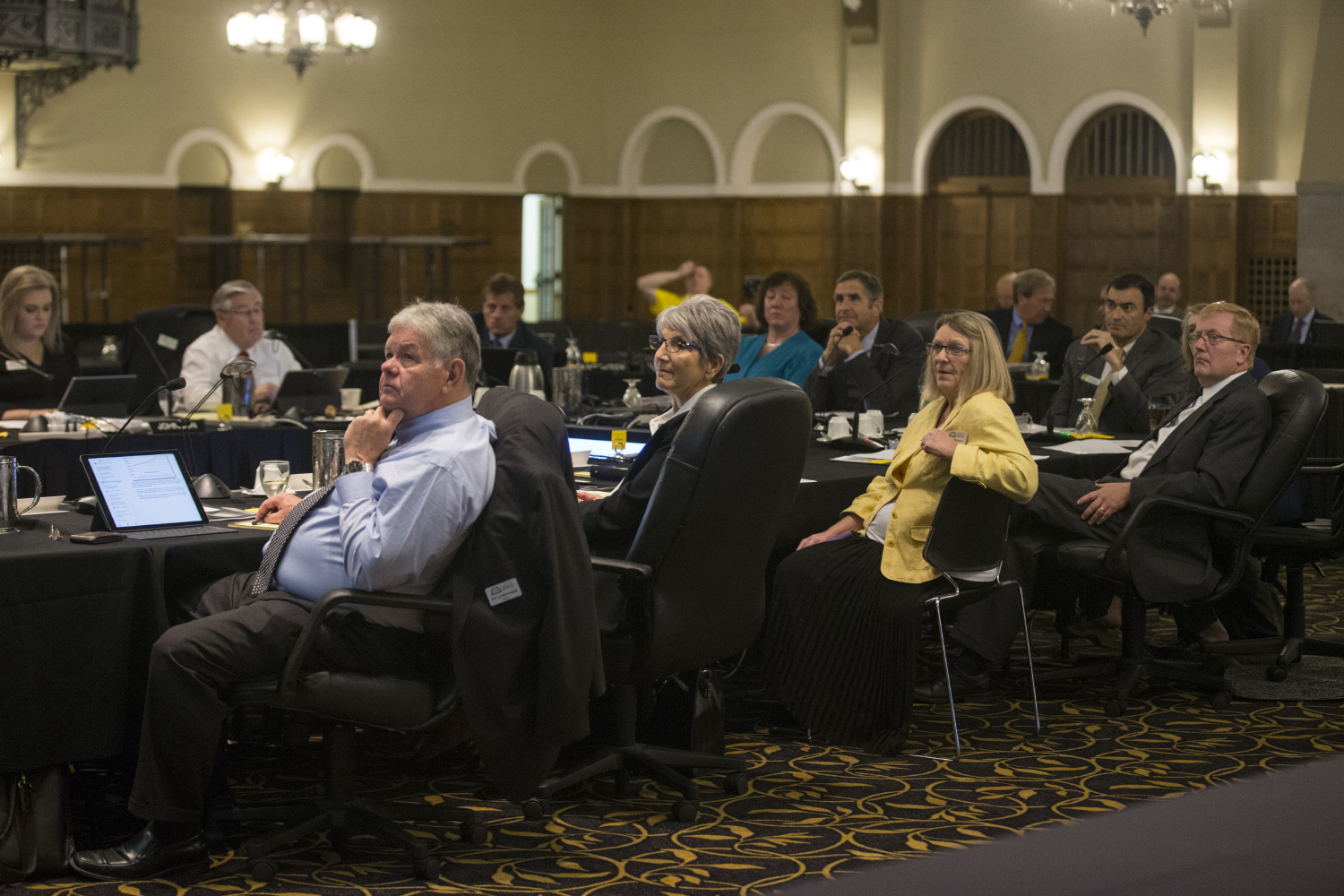 Board members listen during the Board of Regents meeting on September 12, 2018 in the IMU Main Lounge. Regents members discussed remodeling various buildings and sights across various Iowa campuses. (Katie Goodale/ The Daily Iowan)