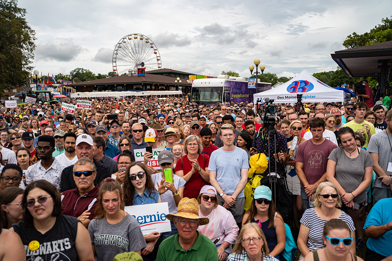 A crowd gathers to watch Sen. Bernie Sanders speak during the Iowa State Fair in Des Moines, IA on Sunday, August 11, 2019.
