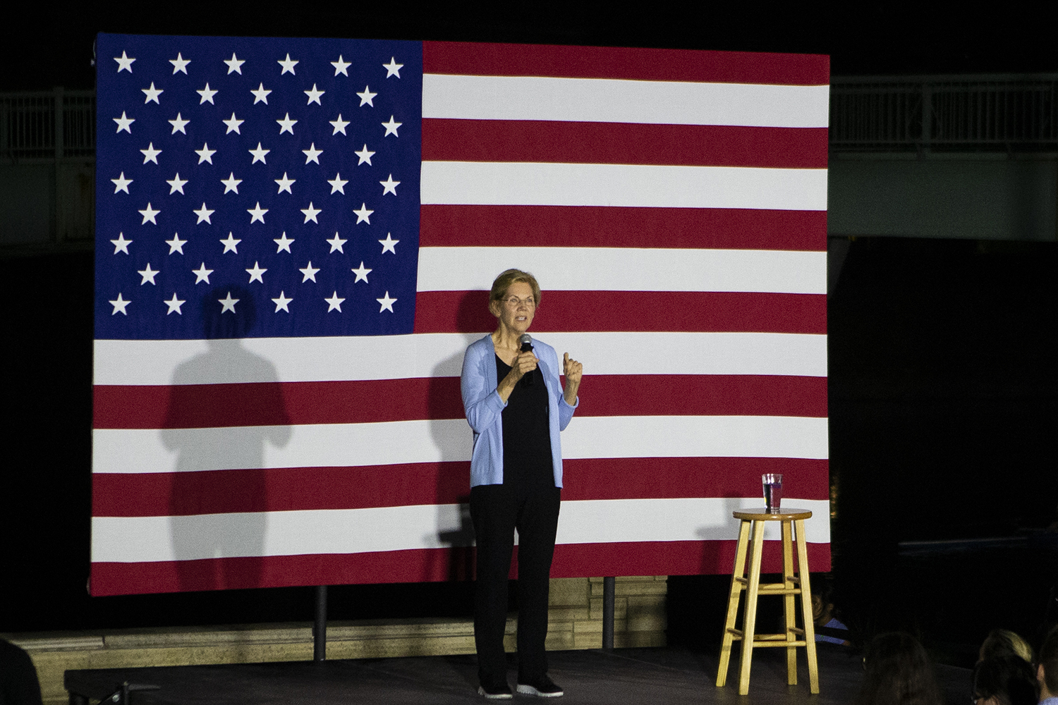 Elizabeth Warren speaks during a campaign rally for presidential candidate and Senator Elizabeth Warren, D-Mass. outside the IMU on Thursday, September 19, 2019. (Raquele Decker/The Daily Iowan)