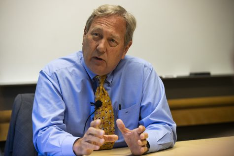 UI President Bruce Harreld answers a question in the Adler Journalism Building on Monday, September 23, 2019. President Harreld discussed his contract extension, the resignation of the Associate VP for Diversity, Equity, and Inclusion, the UI marching band investigation regarding incidents taken place during the Cy-Hawk football game. (Katina Zentz/The Daily Iowan)