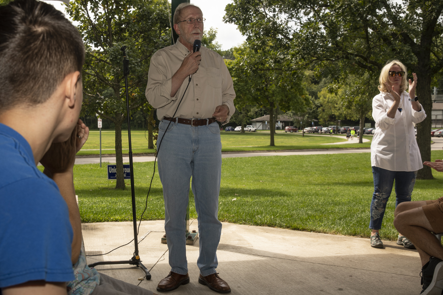 Rep. Dave Loebsack speaks during the Iowa City Federation of Labor Labor Day Picnic in City Park on September 2, 2019. Among the candidates to attend the event were Sen. Michael Bennet and Former Vice President Joe Biden.
