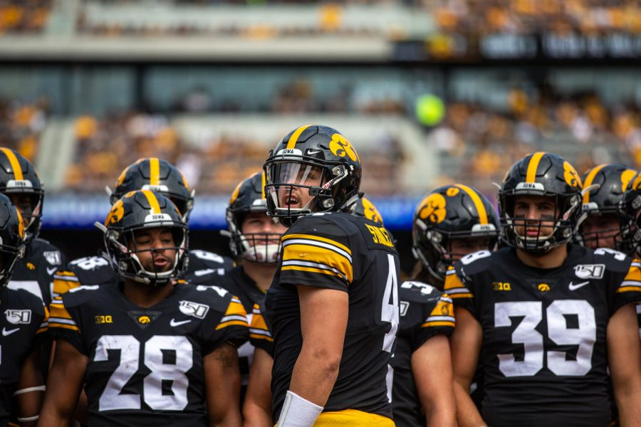 Iowa QB Nate Stanley looks back at the jumbo tron during a football game between Iowa and Rutgers at Kinnick Stadium on Saturday, September 7, 2019. The Hawkeyes defeated the Scarlet Knights 30-0.