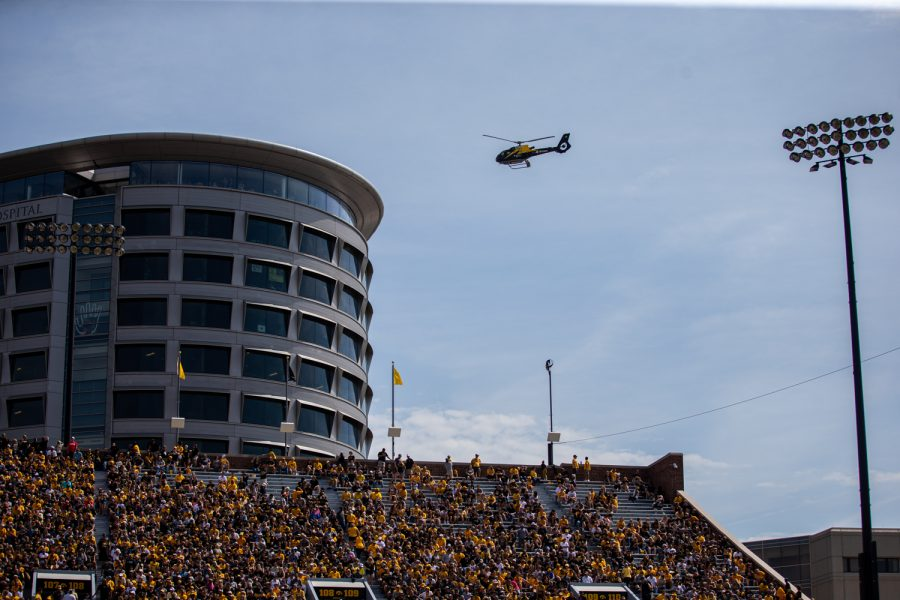 An Aircare helicoptor returns to the UIHC during a football game between Iowa and Rutgers at Kinnick Stadium on Saturday, September 7, 2019. The Hawkeyes defeated the Scarlet Knights 30-0.