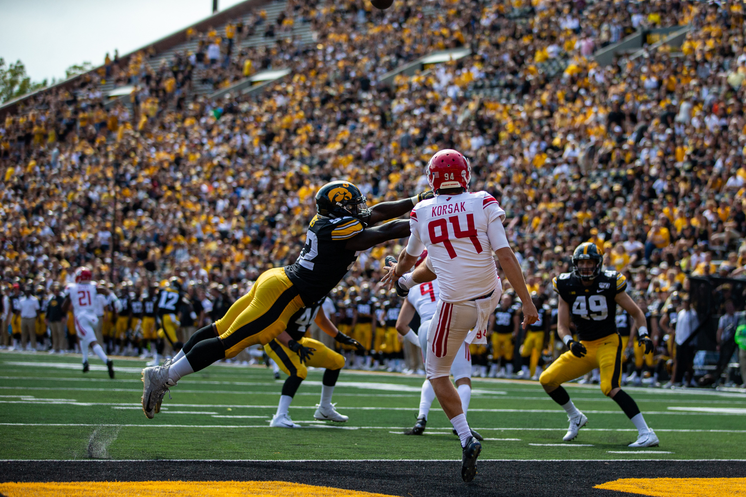 Iowa LB Amani Jones almost blocks a punt during a football game between Iowa and Rutgers at Kinnick Stadium on Saturday, September 7, 2019. The Hawkeyes defeated the Scarlet Knights 30-0.
