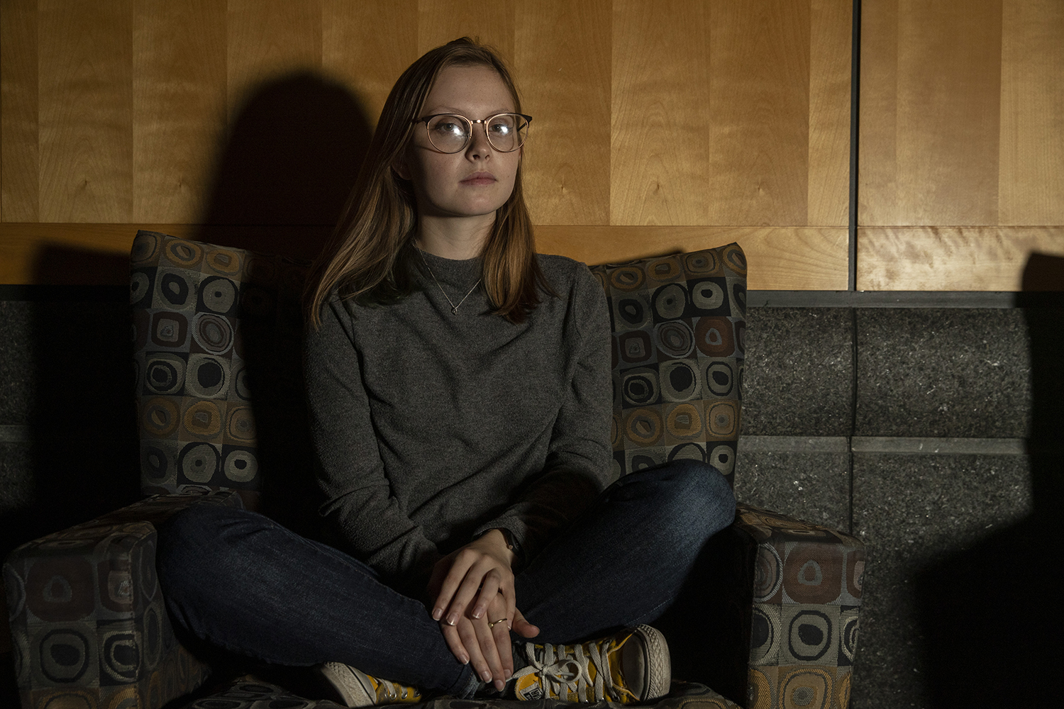 Madison Lotenschtein poses for a portrait in the Adler Journalism Building on Wednesday.