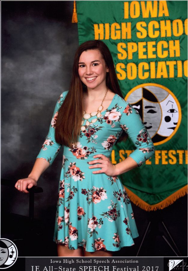 Mollie Tibbetts poses for a photo at the Iowa All-State Speech tournament.