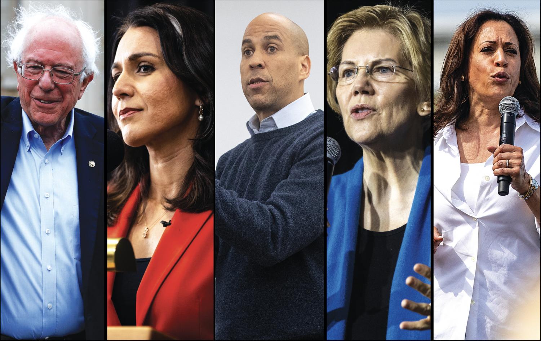 Left to right: Sen. Bernie Sanders, I-Vt., Rep. Tulsi Gabbard, D-Hawaii, Sen. Cory Booker, D-N.J., Sen. Elizabeth Warren, D-Mass., Sen. Kamala Harris, D-Calif.