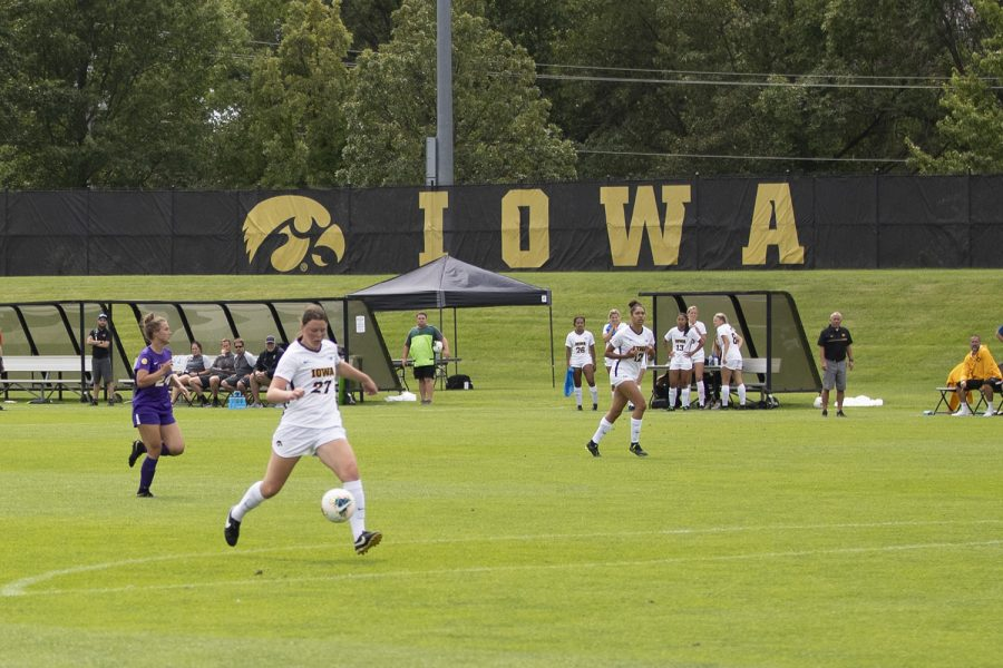 Iowa forward Samantha Tawharu shoots the ball during a match against the University of Northern Iowa Panthers on Sunday, August 25, 2019. The Hawkeyes defeated the Panthers 6-1. (Emily Wangen/The Daily Iowan)