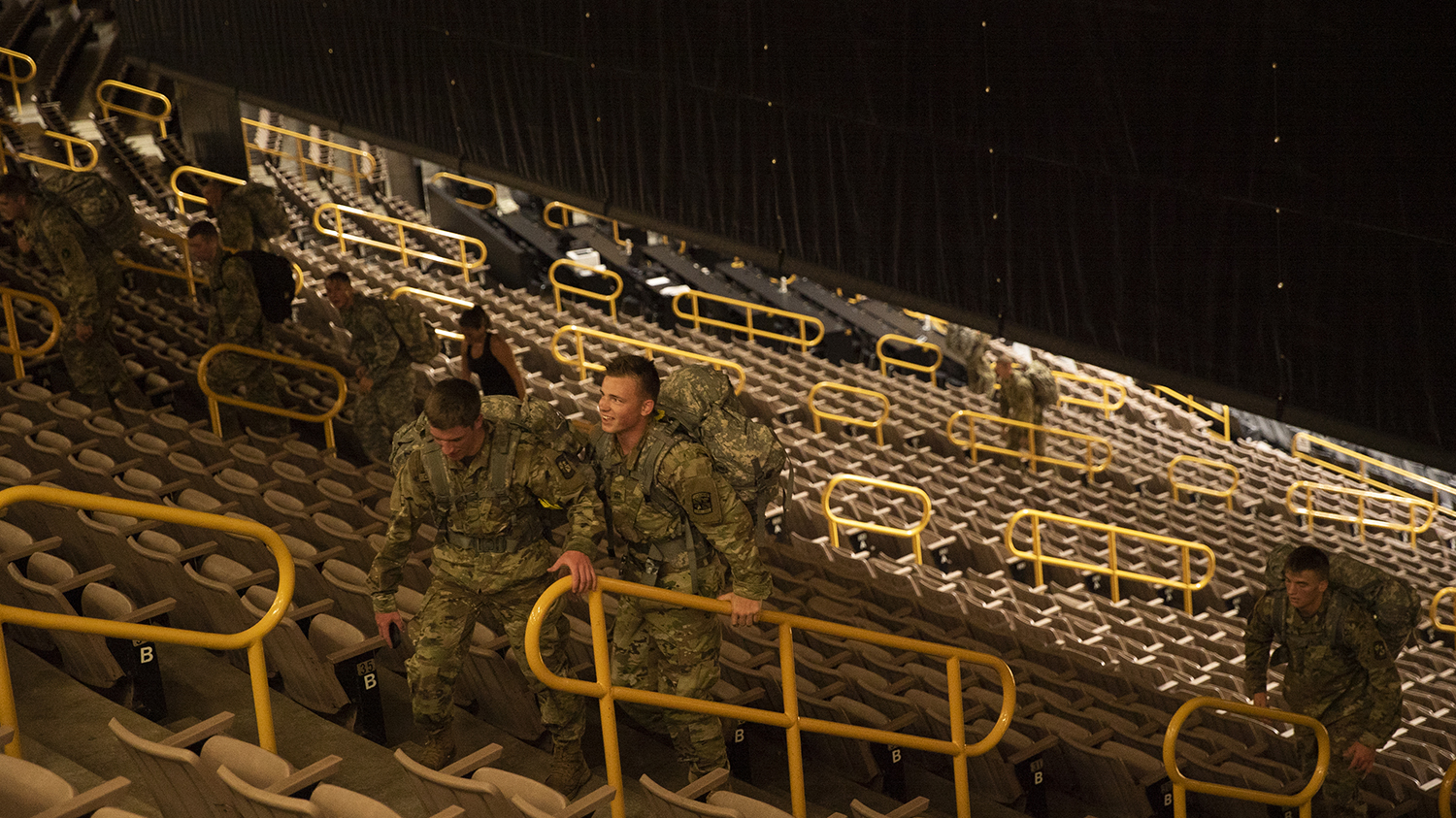 UI ROTC students participate in the 9/11 Memorial Run in Carver Hawkeye Arena, on Wednesday, September 11th, 2019. In rememberance of the lives of first responders and servicemen lost in the events of and succeeding the 9/11 terrorist attacks, the UI ROTC program puts on a stair climb each year.. (Tate Hildyard/The Daily Iowan).