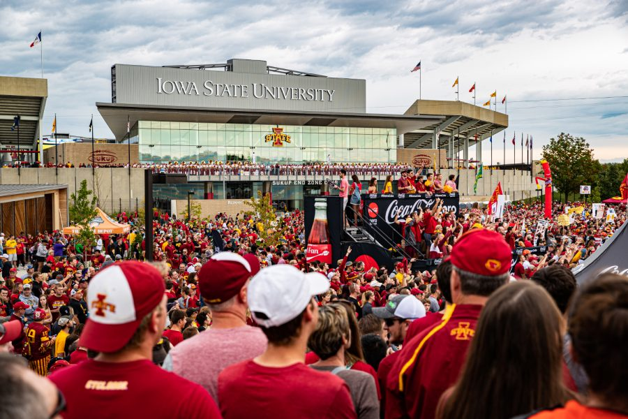 Spectators watch the show during ESPN College GameDay before the annual Cy-Hawk football game between Iowa and Iowa State in Ames, IA on Saturday, September 14, 2019. This was GameDay's first visit to Ames.