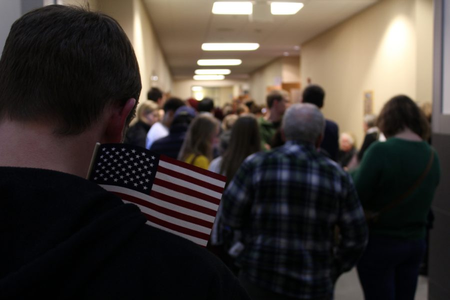 Voters wait patiently for the caucus to start on Monday Feb. 1, 2016.
