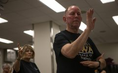 Albert Persson teaches a Tai Chi class in UI Health Care in Coralville on Wednesday Sept. 25, 2019. Persson began teaching Tai Chi after notices the benefits on his joints.